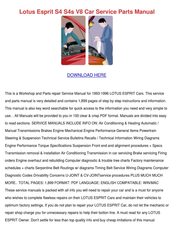 lotus esprit s4 s4s v8 car service parts manual