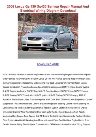 2006 Lexus Gs 430 Gs430 Serivce Repair Manual by Trinh Bohmer - issuu