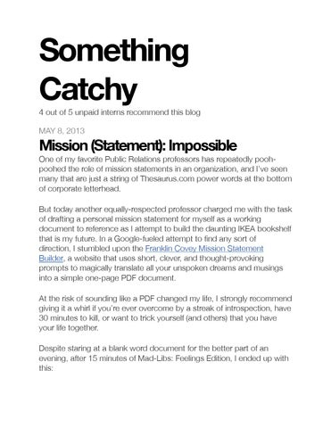 Mission (Statement) Impossible by Devon Hillard - issuu