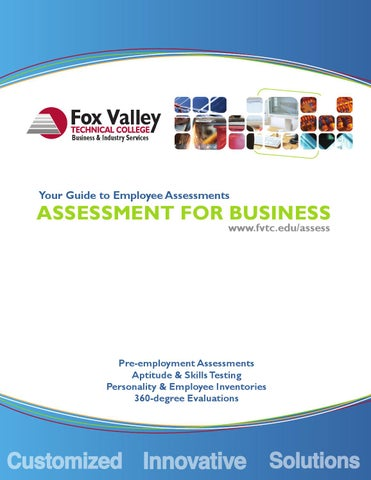 FVTC Guide to Employee Assessments by Fox Valley Technical College