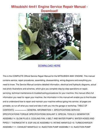 Mitsubishi 4m41 Engine Service Repair Manual by CharlotteBarrows - issuu