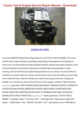 Toyota 1mz Fe Engine Service Repair Manual Do by LenaKincaid - issuu