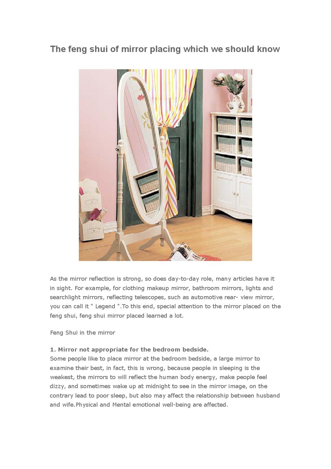 Bad Feng Shui Mirror Placement The Feng Shui Of Mirror Placing Which We Should Know By