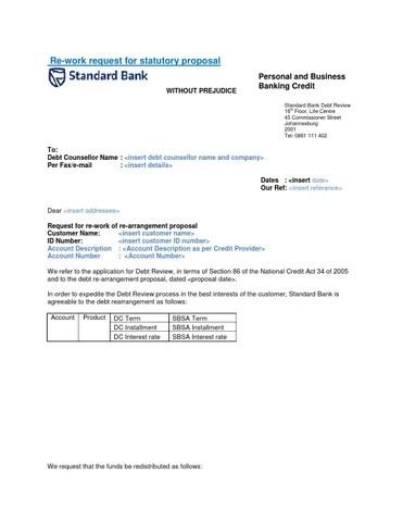 Std bank proposal model rework request letter final by Debtfree DIGI