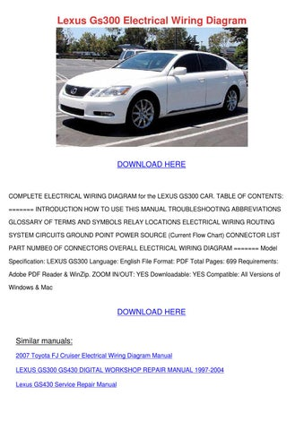 Lexus Gs300 Electrical Wiring Diagram Wiring Diagram