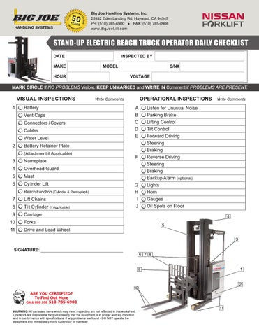 Stand-Up Electric Reach Truck Operator Daily Checklist by bigjoelift - daily checklist