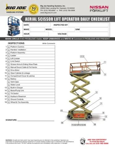 Aerial / Scissor Lift Operator Daily Checklist by bigjoelift - issuu - daily checklist