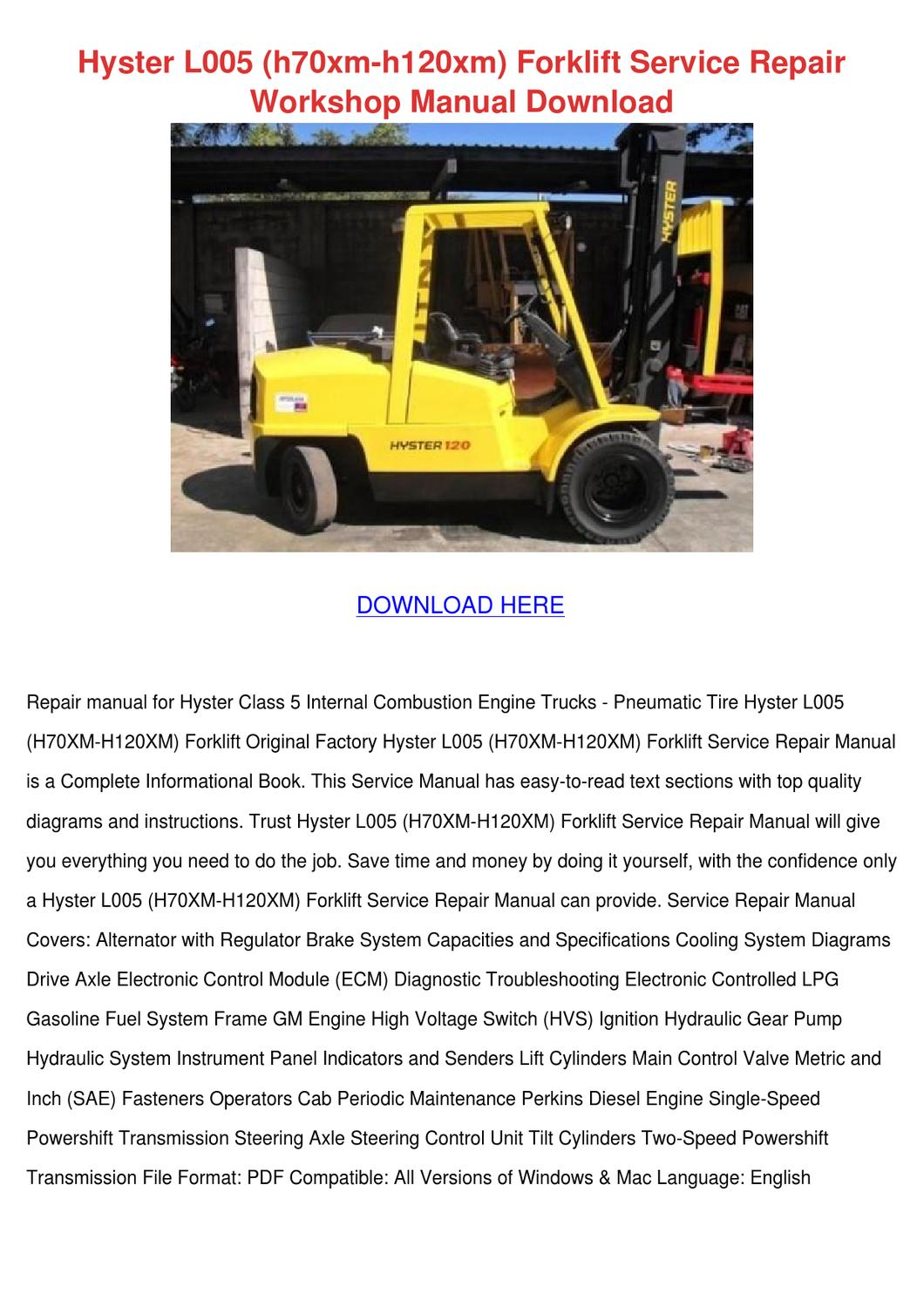 Hyster H120xm Manual Auto Electrical Wiring Diagram Alfa Romeo 147 Free Download