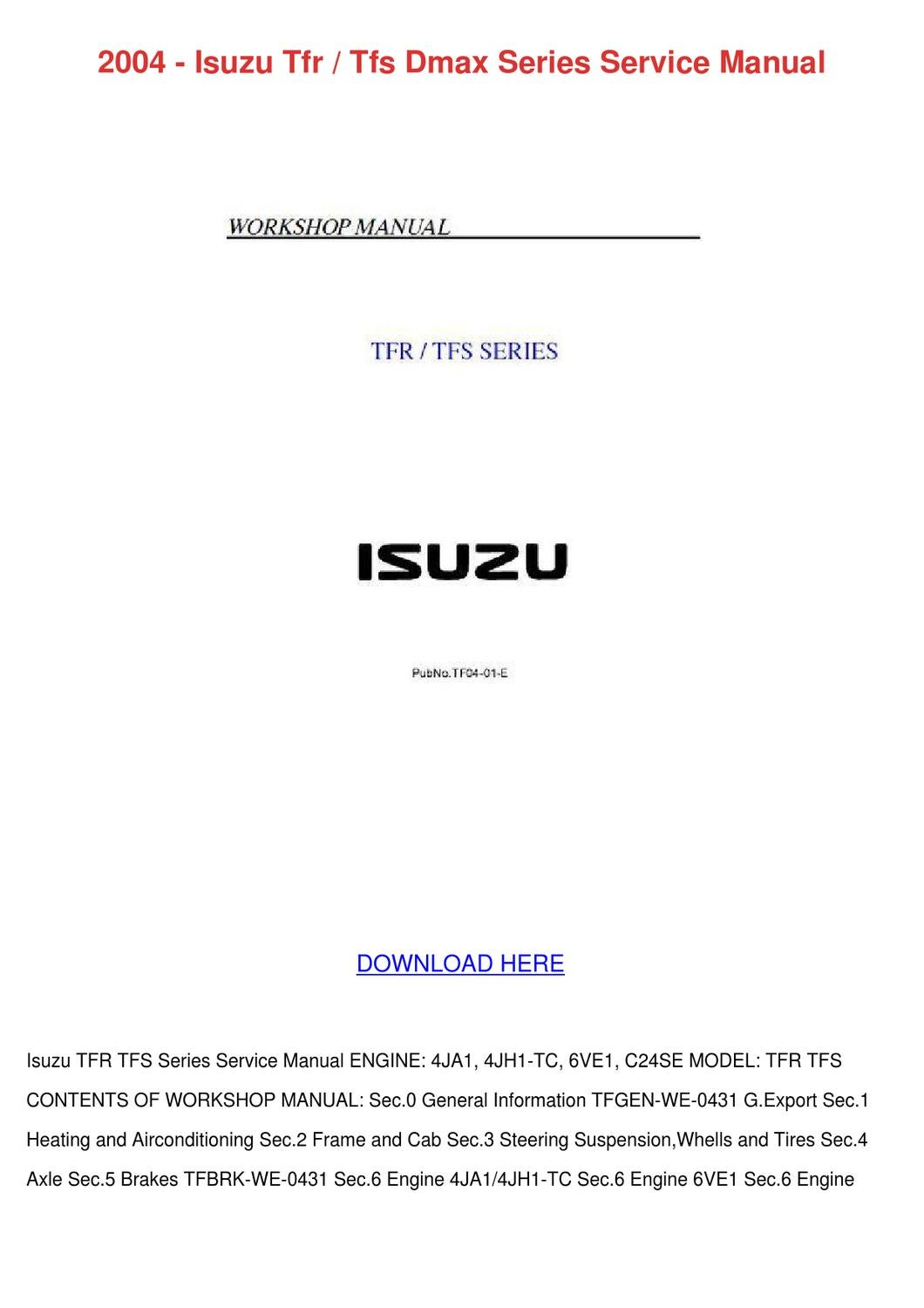 2013 isuzu dmax service manual
