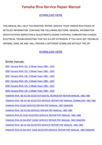 Yamaha Riva Service Repair Manual by WillisVoigt - issuu