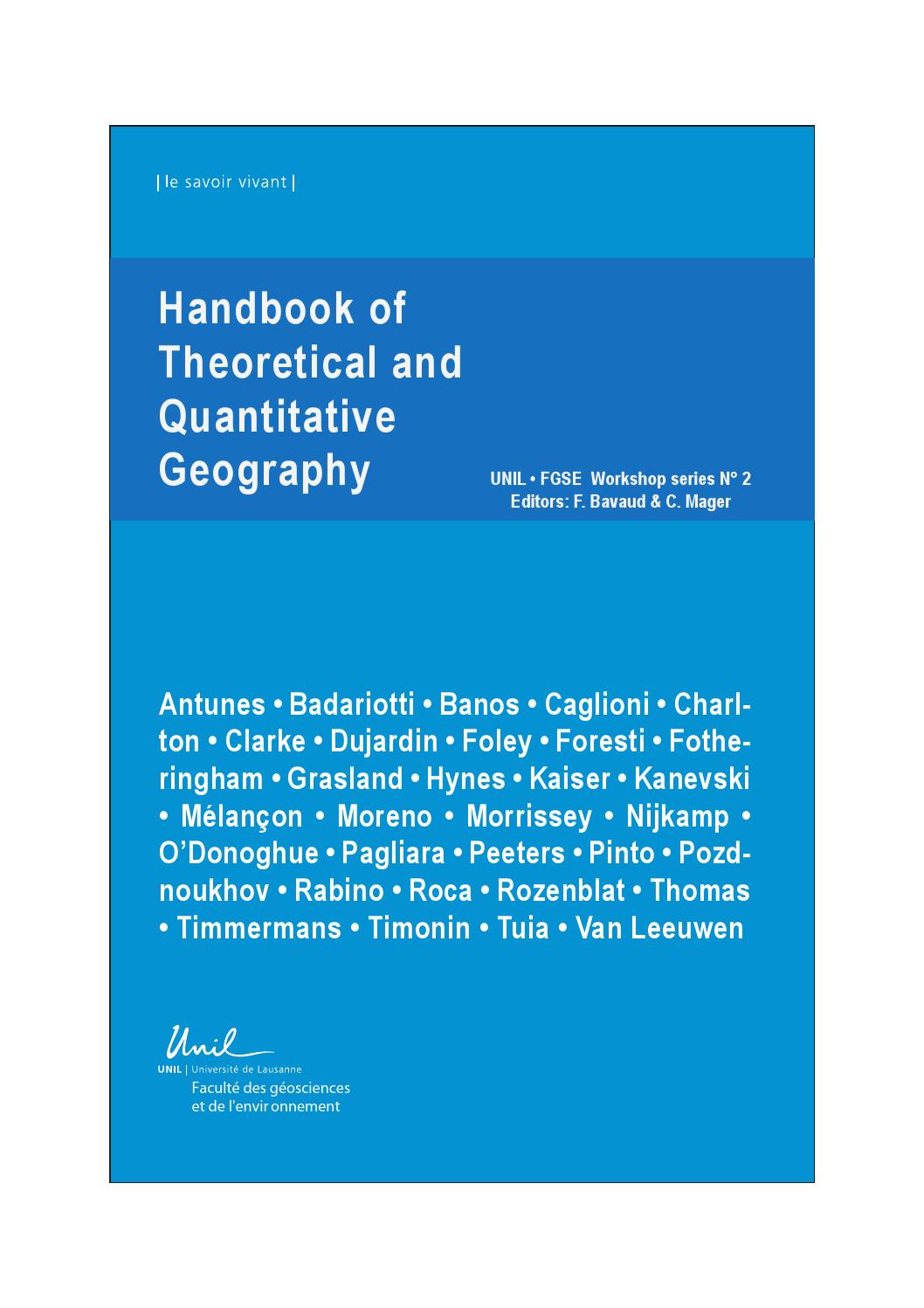 Arte Murano Diego Vidal Handbook Of Theoritical And Quantitative Geography 2009 By