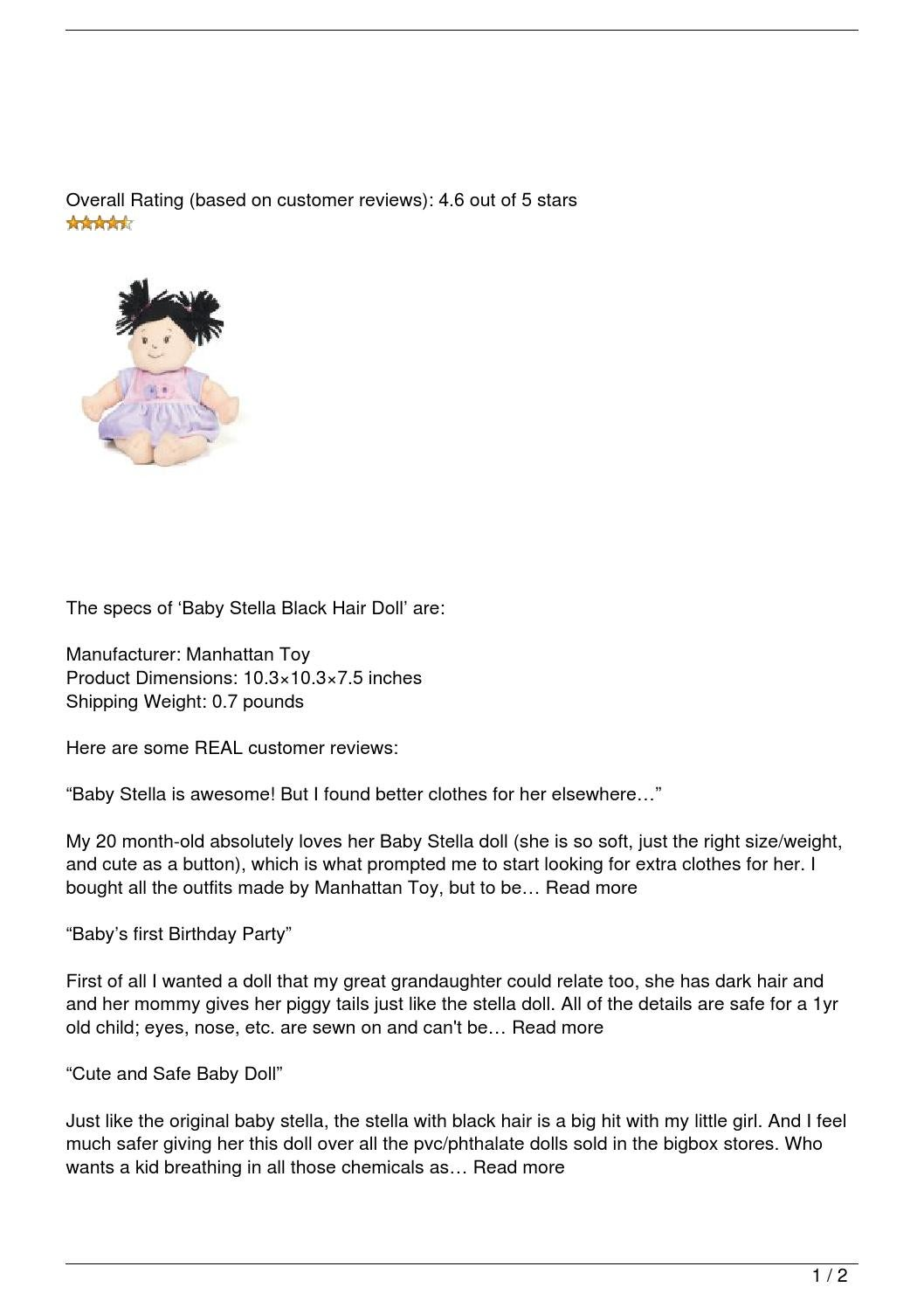 Stella Black Review Baby Stella Black Hair Doll Review By Suss Issuu