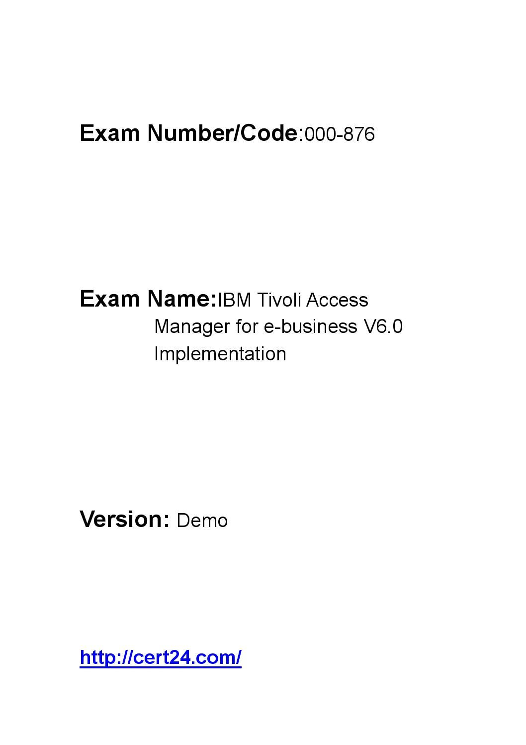 Tivoli Access Manager Download Cert24 000 876 Pdf Certifications Free Download