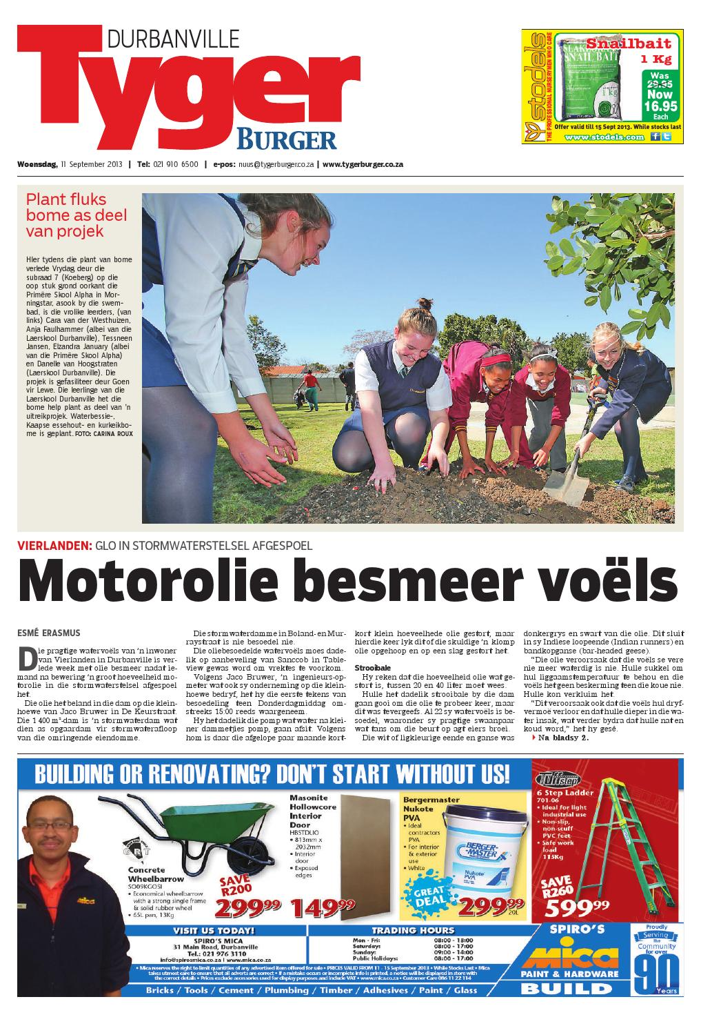 Tygerburger Durbanville 11 Sept 2013 By Tygerburger Newspaper Issuu - Studeer Aanlyn Nz