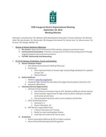 Alumni fy 13 14 planning mtg 9 18 13 meeting minutes by Michele - minutes of organizational meeting