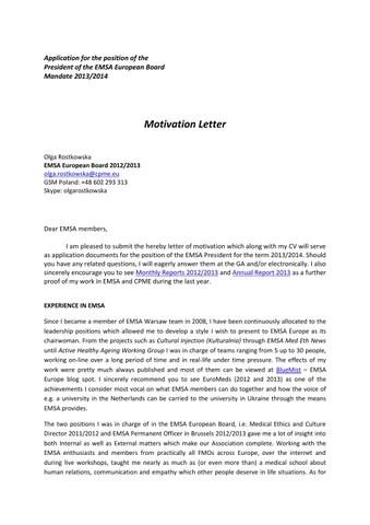 Motivation letter emsa presidency 2013 2014 olga rostkowska by EMSA