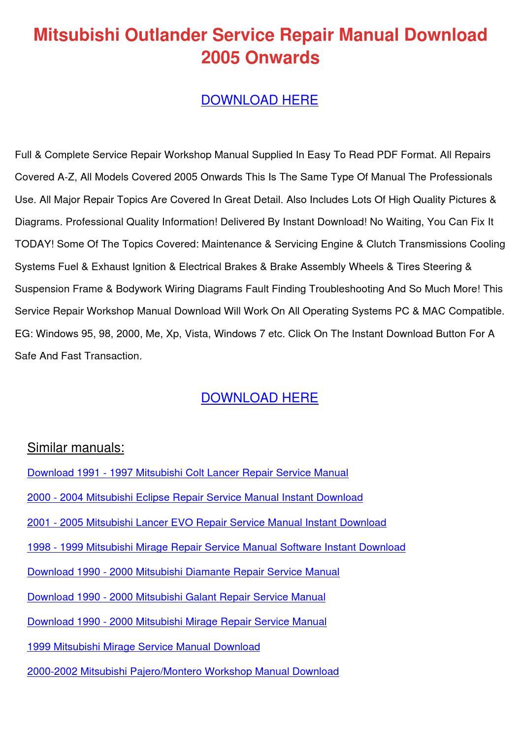 Download 1991 1997 Mitsubishi Colt Lancer Repair Service Manual 60 Amp Fuse Box Outlander Do By