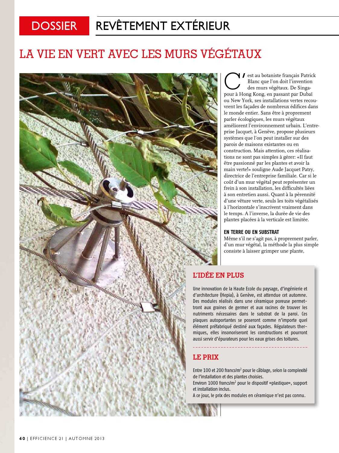 Mur Vegetal Exterieur Cout Efficience21 N8 2013 By Inédit Publications Sa Issuu