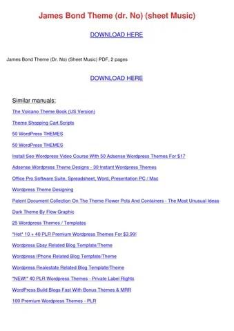 James Bond Theme Dr No Sheet Music by IzettaGainey - issuu