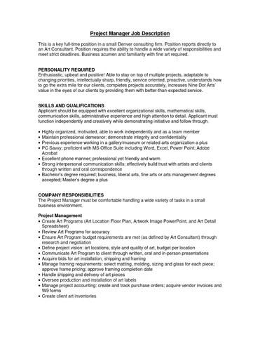 Project Manager job description by Grant Adams - issuu - it project manager job description