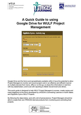 Google Drive for WULF Project Management by DigiSkills Cymru - issuu - using access for project management