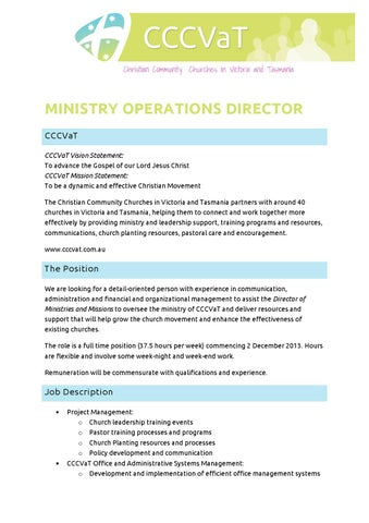Ministry operations director position description 2013 by Nathan