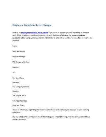 Employee Complaint Letter Sample by Shane Thomas - issuu