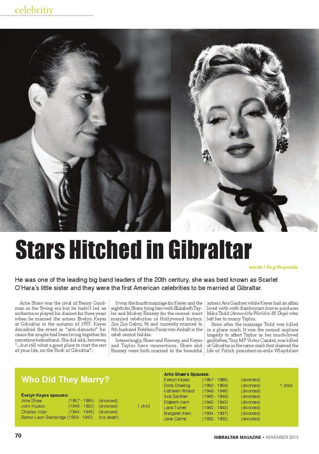 Artie Shaw Marriages Gibraltar Magazine November 2013