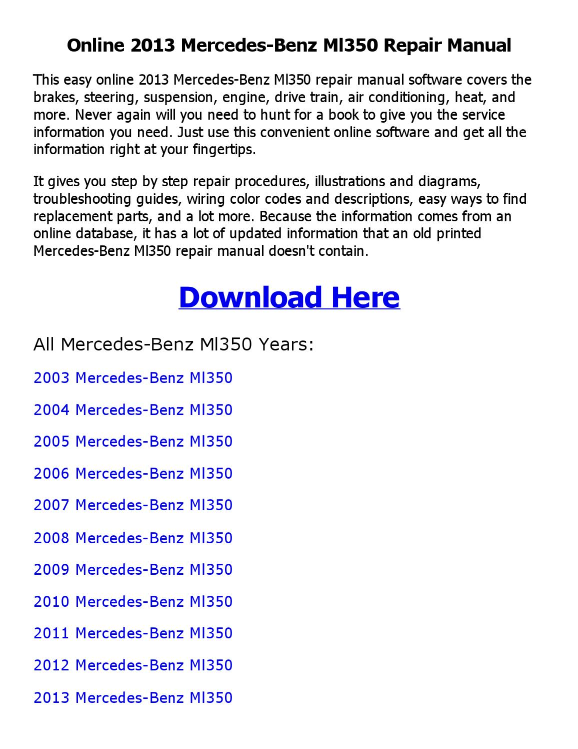2009 mercedes benz ml350 service repair manual software