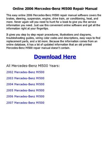 2006 mercedes benz ml500 repair manual online by coollang - issuu