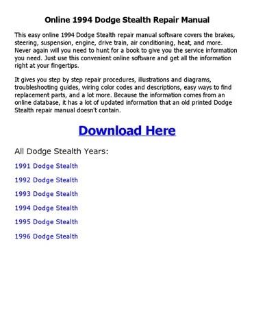 1994 dodge stealth repair manual online by sadi1sdi1 - issuu