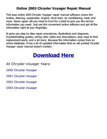 2003 chrysler voyager repair manual online by nkouedjo - issuu