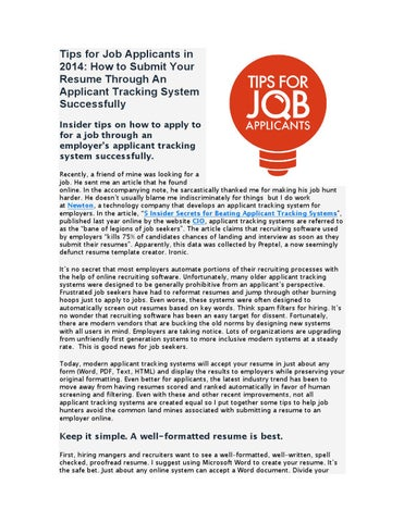 Tips for Job Applicants in 2014 How to Submit Your Resume Through