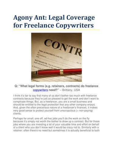 Agony Ant Legal Coverage for Freelance Copywriters by