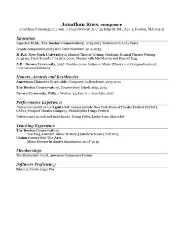 Jonathan Russ - resume (one page) by Jonathan Russ - issuu
