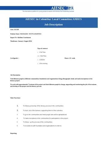 OC Alfa Beta - JD OCVP Logistics by AIESEC en Cali - issuu - logistics coordinator job description