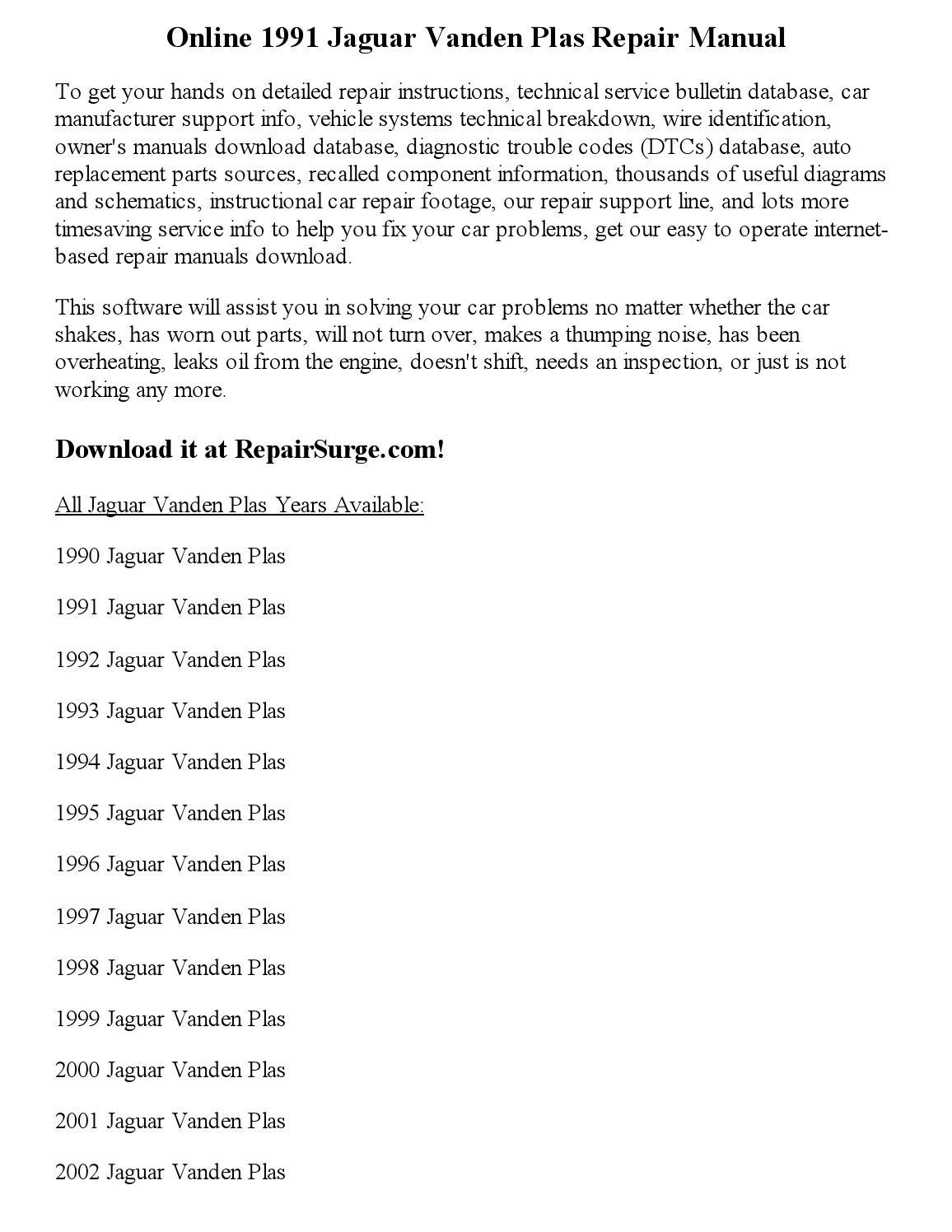 1996 jaguar vanden plas service repair manual software