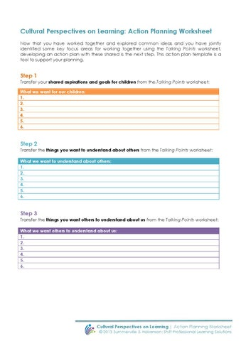 Cultural Perspectives on Learning Action planning worksheet by - action plan work sheet