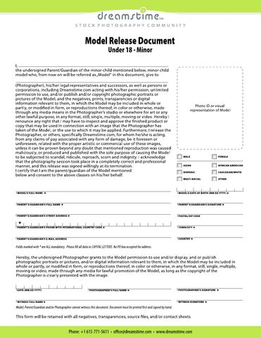 Model Release Form - Minor Under 18 by dreamstime - issuu - model release form in pdf
