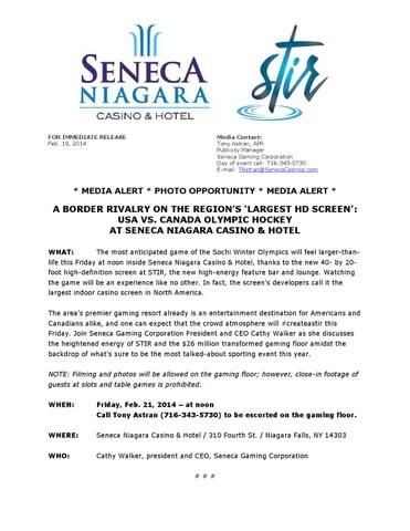 Media Advisory USA vs Canada Olympic Hockey at Seneca Niagara