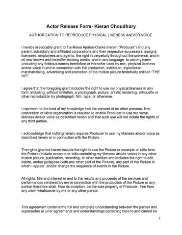 Actor release form kieran by Tia Apaloo-Clarke - issuu - actor release form