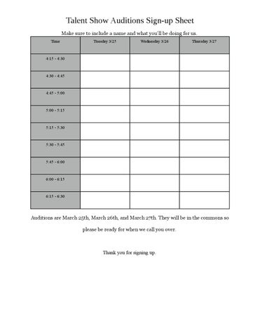 Talent Show Audition Sign-up Sheet by acaastudentcouncil - issuu