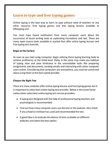 Learn to type and free typing games by aalfatyping - issuu