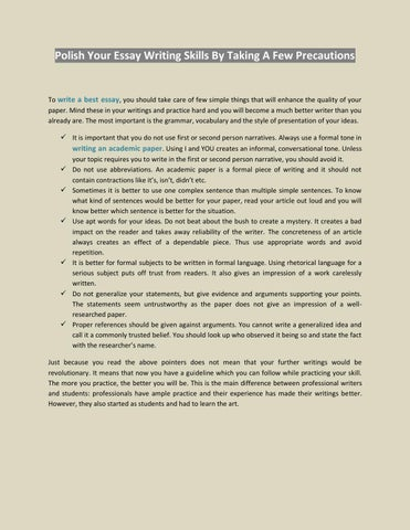 Polish Your Essay Writing Skills By Taking A Few Precautions by