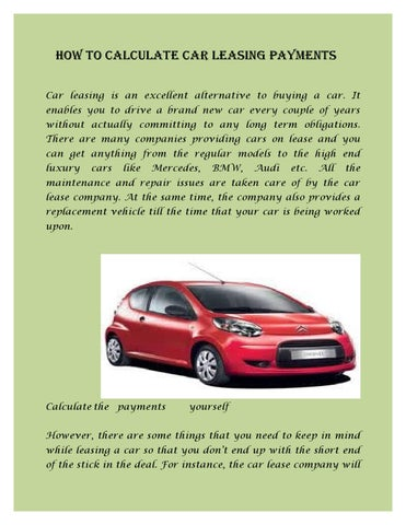 Calculate Car Lease auto lease calculator excel image titled