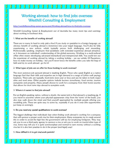 Working abroad how to find jobs overseas Westhill Consulting
