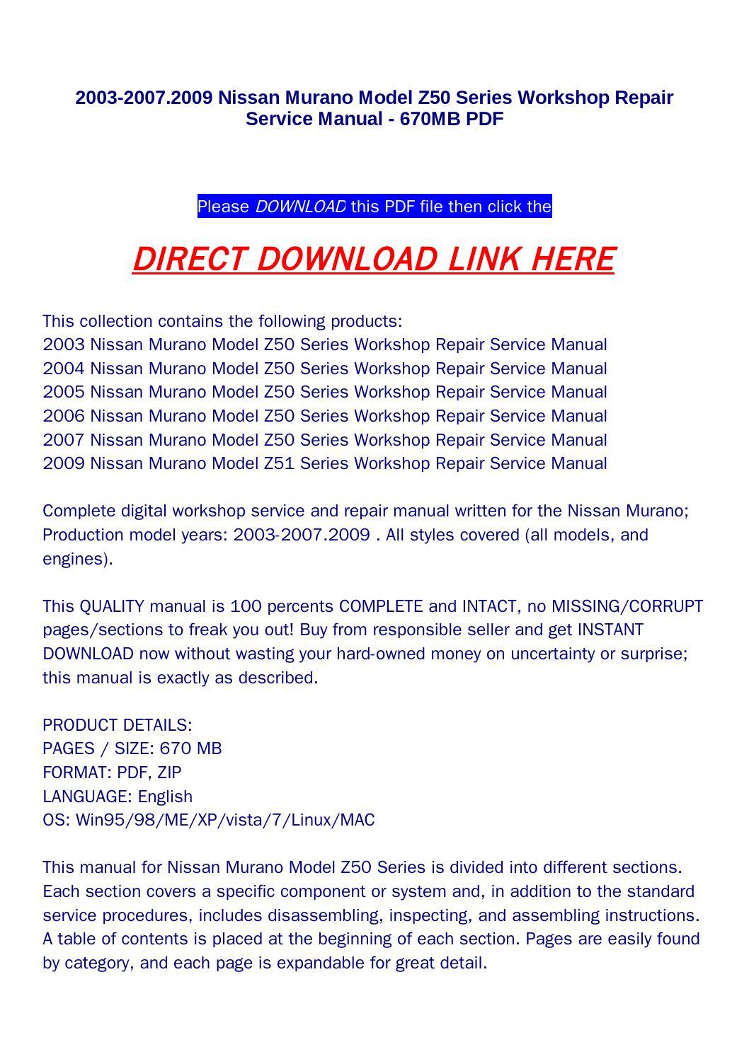 2003 nissan murano service repair manual download