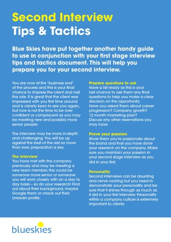 2nd Interview Tips  Tactics by Blue Skies - issuu