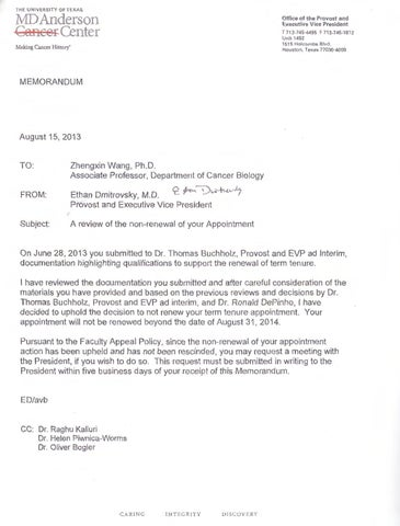 Zhengxin Wang Appeal Denial \ EEOC Complaint by The Cancer Letter - eeoc complaint form