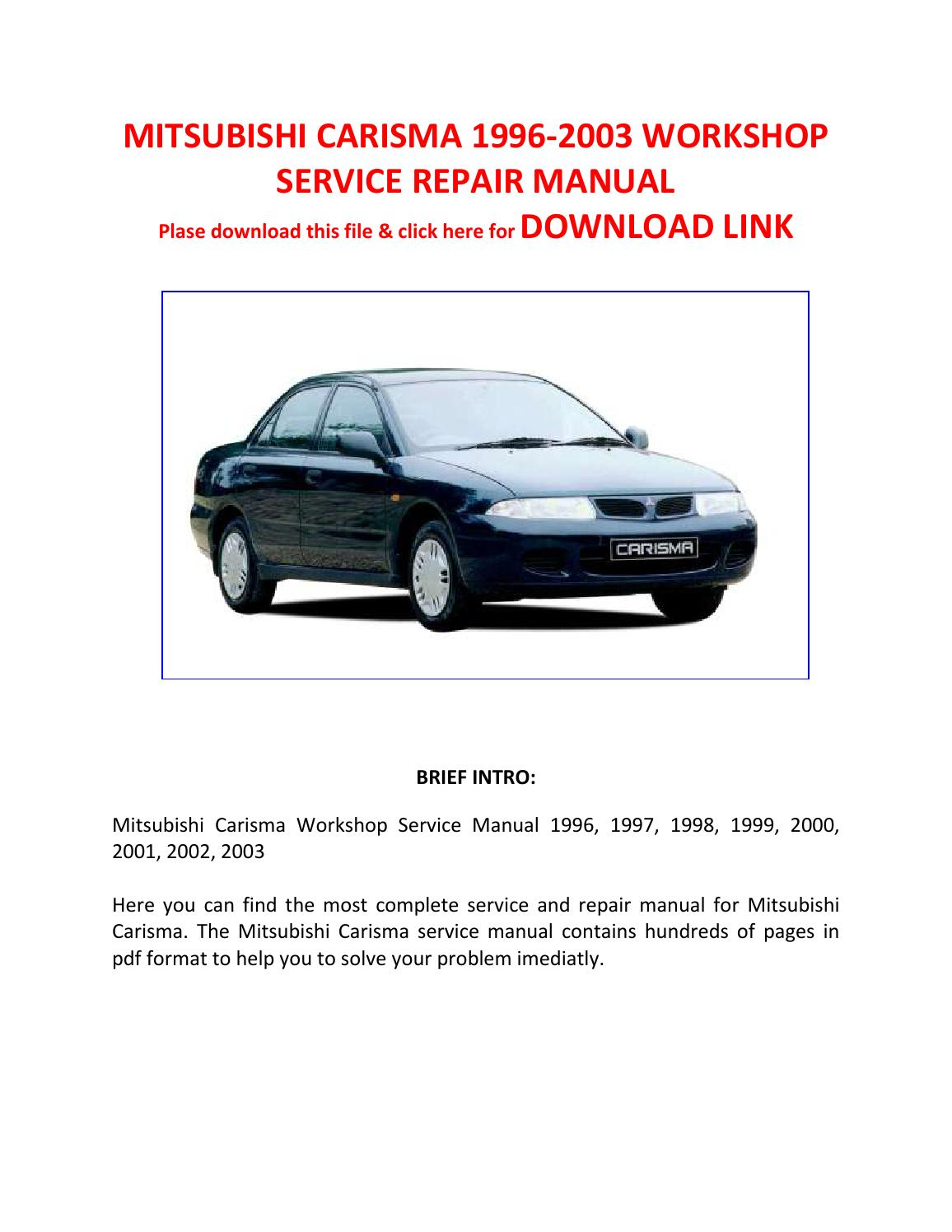 mitsubishi carisma 2002 repair service manual